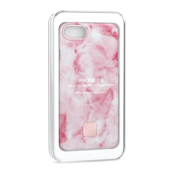 Husă protecție telefon pentru iPhone 7 și 8 Happy Plugs Slim, roz - alb