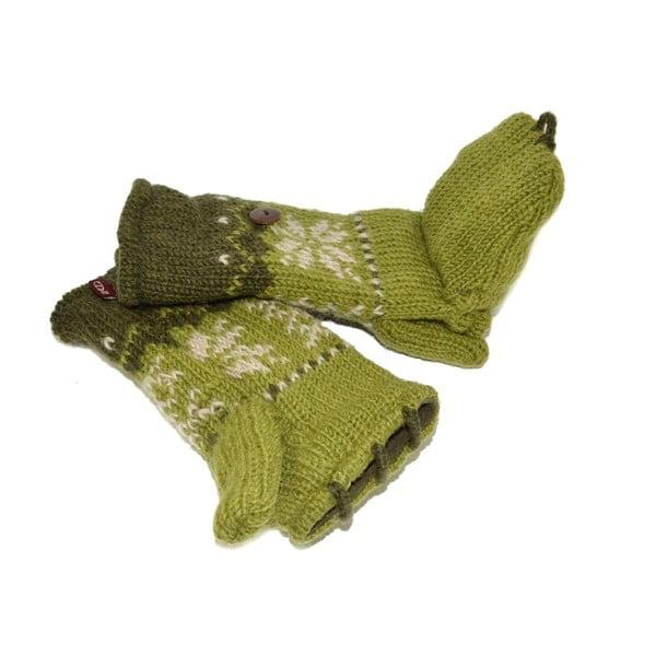 Vlněné palčáky bez prstů Zelená vločka