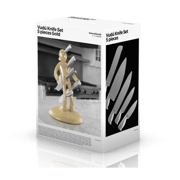 Set 5 cuțite din inox și suport auriu InnovaGoods Vooddoo