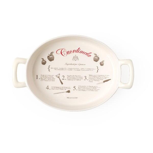 Tavă ovală din ceramică Brandani Batticuore, 34,5 x 22 cm, bej