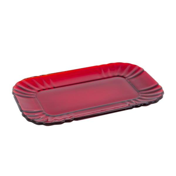 Skleněný tácek Kaleidos, červený