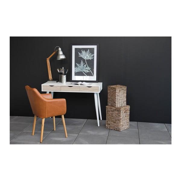 Bílý pracovní stůl se 3 zásuvkami v dekoru dřeva Actona Neptun