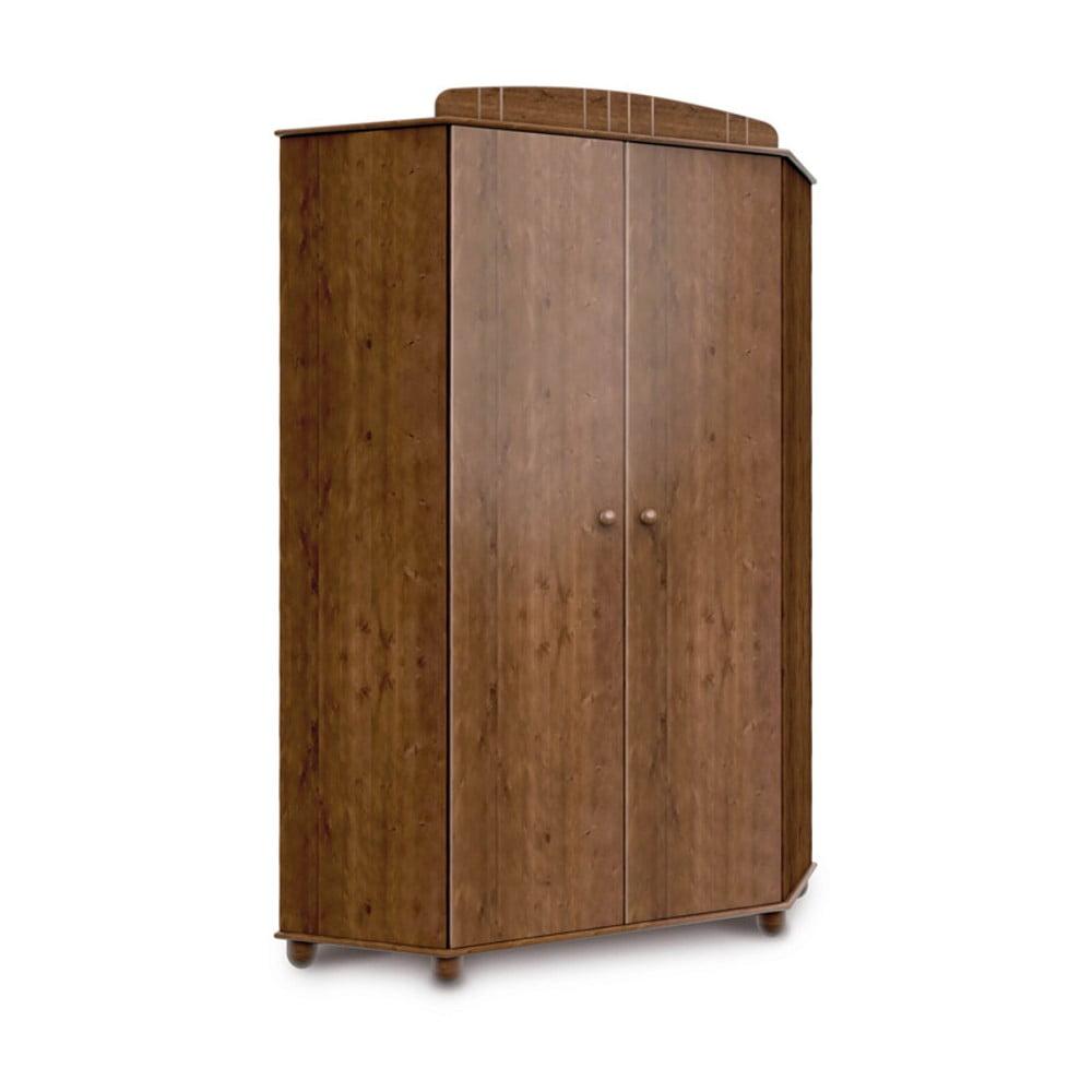 Tmavě hnědá rohová šatní skříň z borovicového dřeva Faktum Tomi