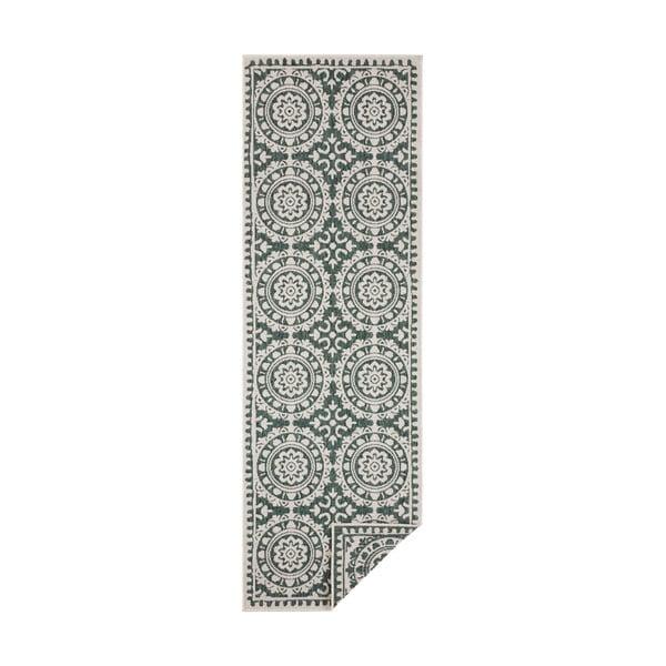 Zielono-kremowy dywan odpowiedni na zewnątrz Bougari Jardin, 80x250 cm