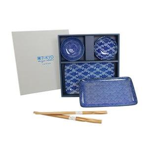 Set talířů a hůlek Nippon Blue Romantic, 6 ks