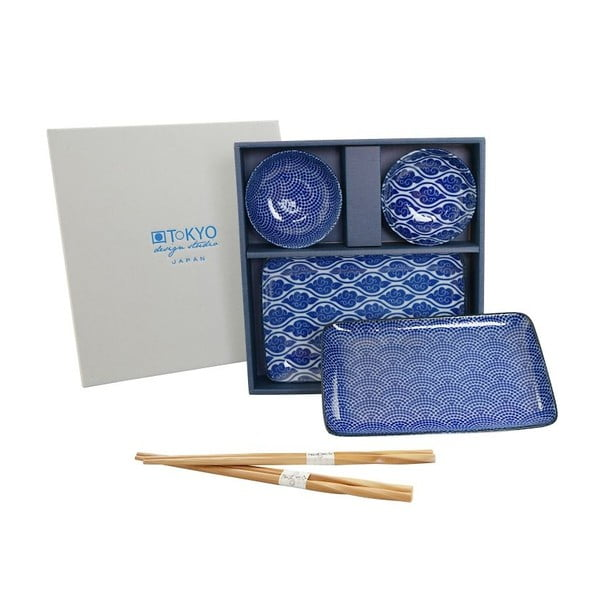 Set talířů a hůlek Nippon Blue Romantic, 6 ks