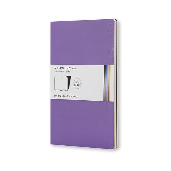 Sada 2 notesů Moleskine Violet, nelinkované 9x14 cm
