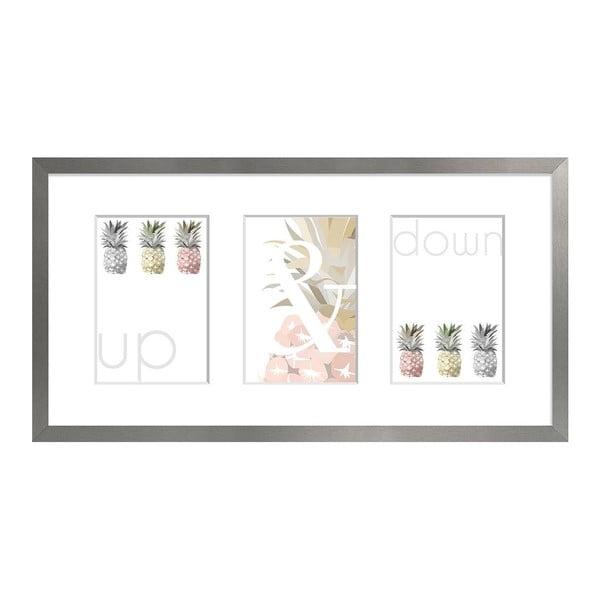 Sivý rámček na 3 fotografie Styler Sanremo, 23×46 cm