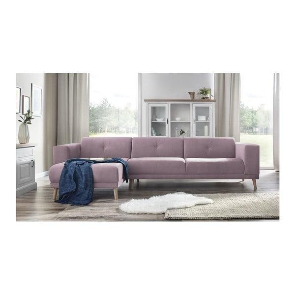 Canapea cu șezlong pe partea stângă și suport pentru picioare Bobochic Paris Luna, roz