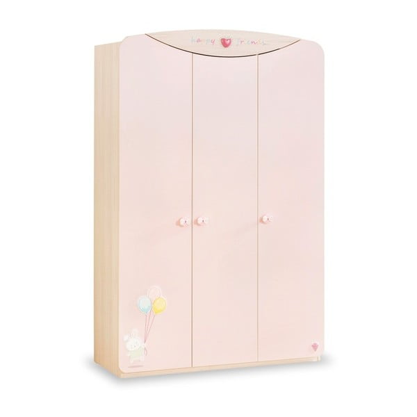 Baby Girl 3 Doors Wardrobe halvány rózsaszín ruhásszekrény