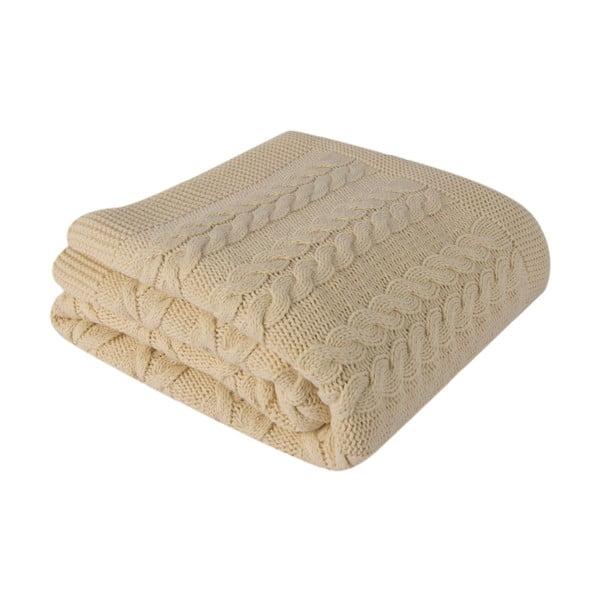 Světle hnědá deka s pleteným vzorem Homemania Touta,170x130cm