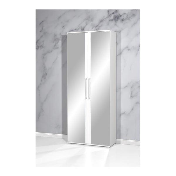 Bílý botník se zrcadlem Germania Gloss, 80 x 197 cm