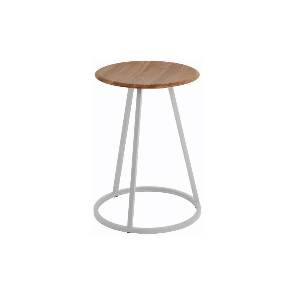 Stolička s deskou z ořechového dřeva a šedou kovovou konstrukcí HARTÔ Gustave, výška 45cm