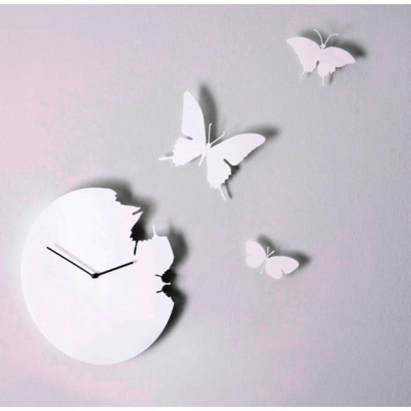 Designové hodiny Butterfly White, 40 cm