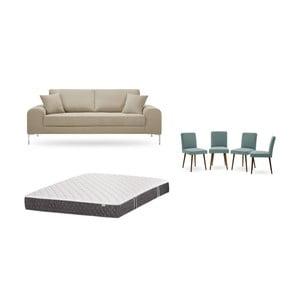 Set třímístné šedobéžové pohovky, 4šedozelených židlí a matrace 160 x 200 cm Home Essentials