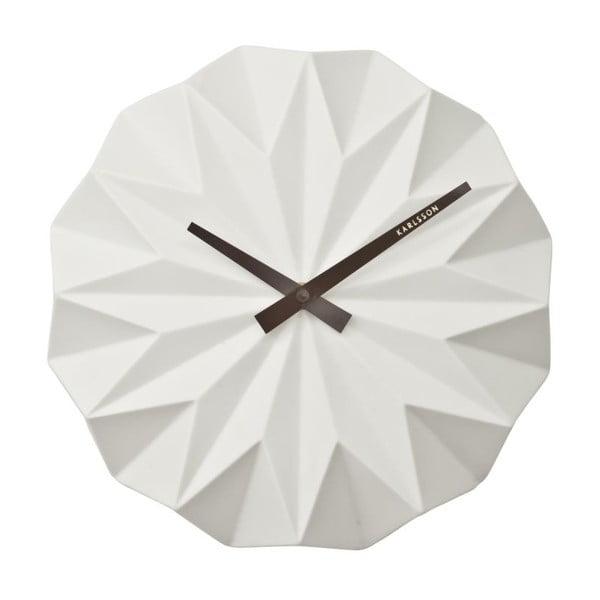 Bílé nástěnné hodiny Present Time Origami Ceramic
