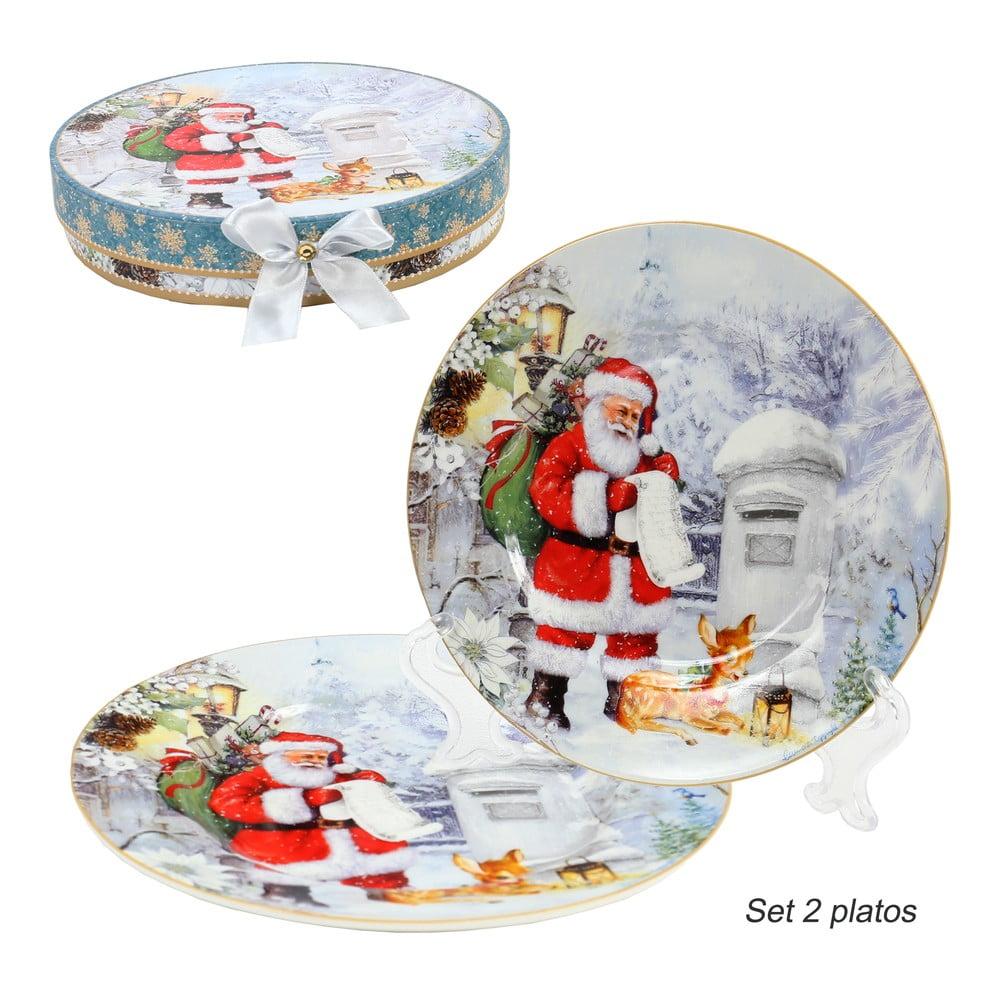 Sada 2 porcelánových vánočních talířů Unimasa Santa Claus, ø20,3cm