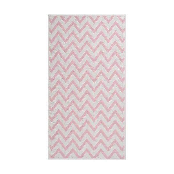 Pudrově růžový odolný koberec Vitaus Zikzak, 100 x 150 cm