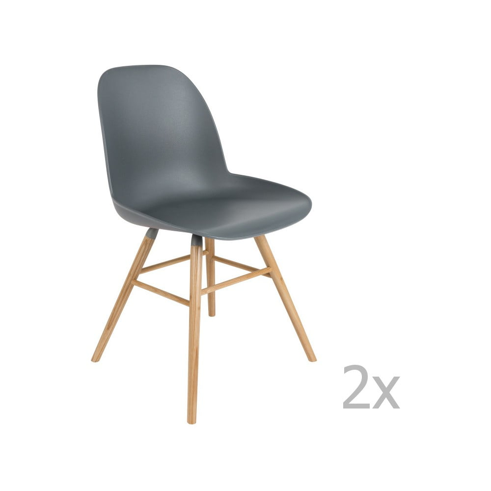 Sada 2 tmavě šedých židlí Zuiver Albert Kuip