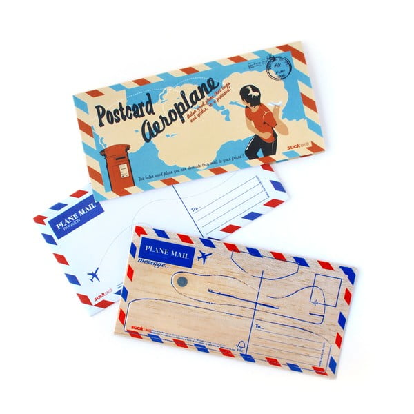 Dřevěné pohlednice Suck UK Postcard Aeroplane, 2 ks