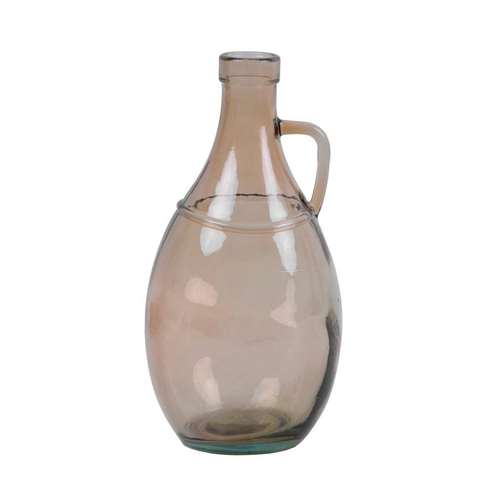 Kouřově hnědá skleněná váza s uchem z recyklovaného skla Ego Dekor, 26 cm