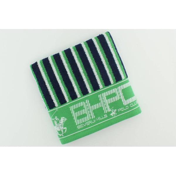 Zeleno-modrý bavlněný ručník BHPC, 50x100 cm