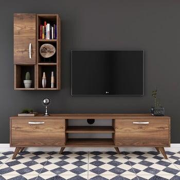 Set comodă TV cu dulap și rafturi de perete Wren Nut, natural imagine