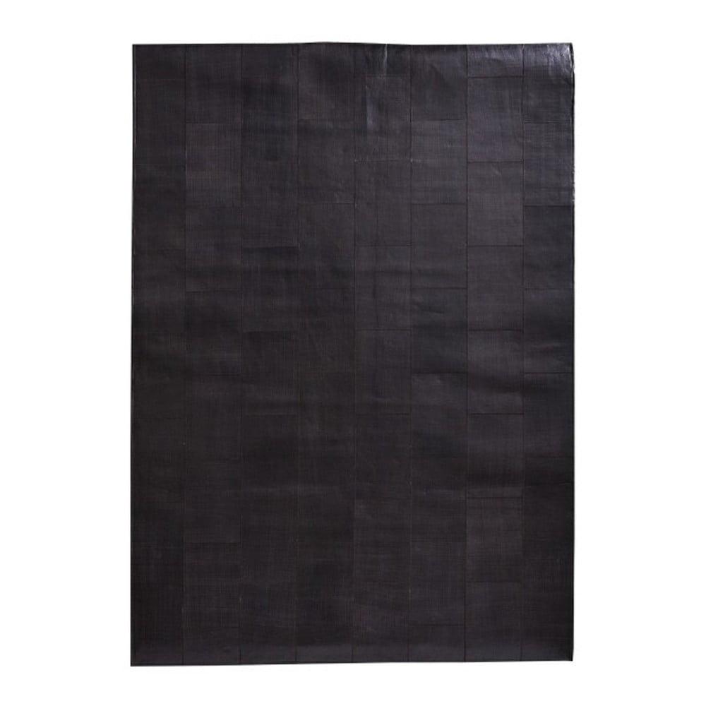 Tmavě hnědý koberec z pravé kůže Fuhrhome Rabat, 120 x 180 cm