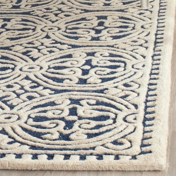 Vlněný koberec Marina Navy, 91x152 cm