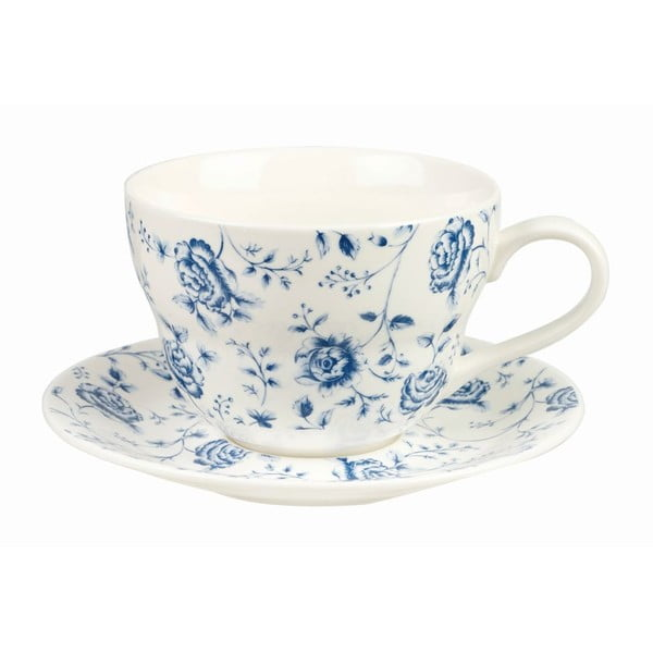 Hrnek s podšálkem Churchill China Blue Story Rose, 390 ml