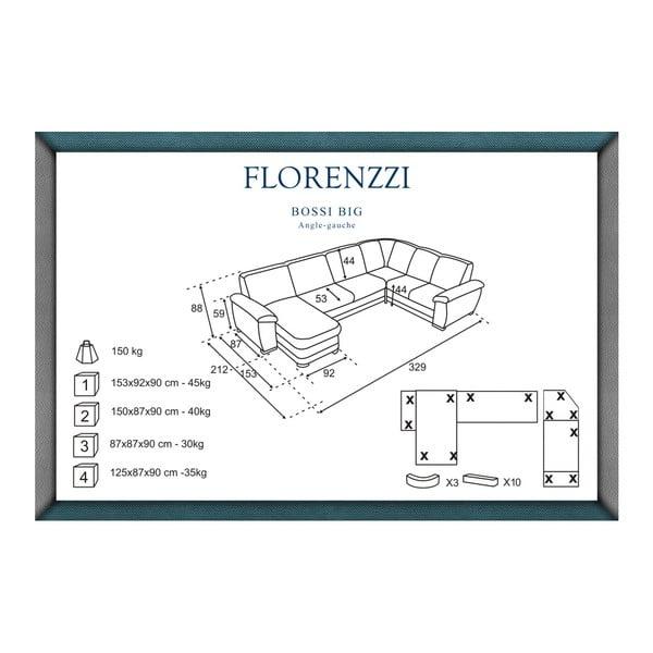 Bílá pohovka Florenzzi Bossi Big, levý roh