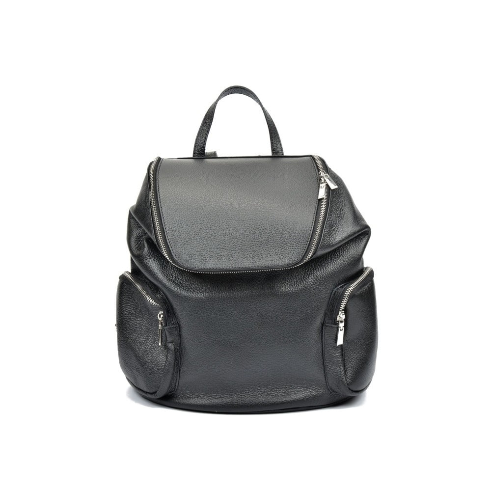 Černý kožený batoh Luisa Vannini Kuhma 11bfad35ce