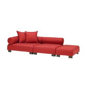 2dílná červená pohovka s podnožkou 13Casa Etna