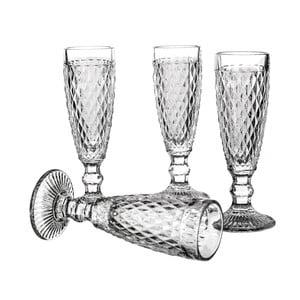 Sada 4 sklenic na šampaňské Unimasa Diamond, 130ml