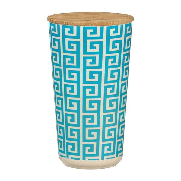 Edge kék-fehér kerámia tárolóedény bambusz fedővel, 950 ml - Wenko