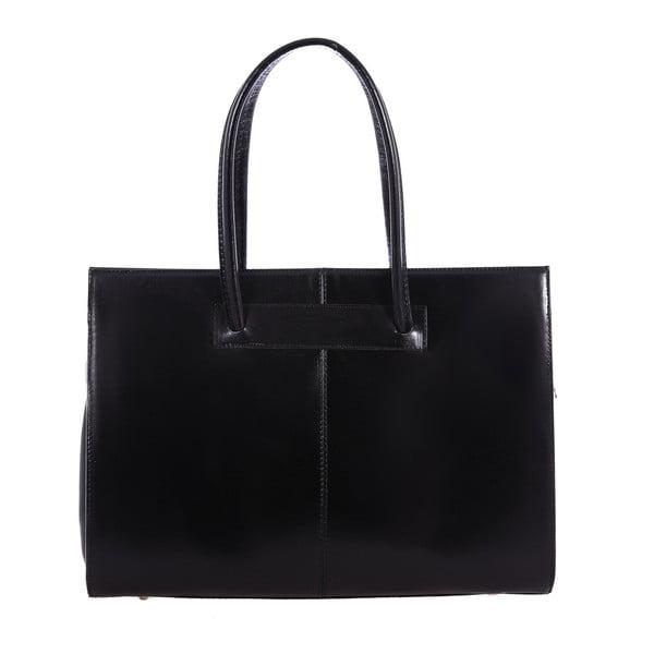 Černá kožená kabelka Chicca Borse Anna