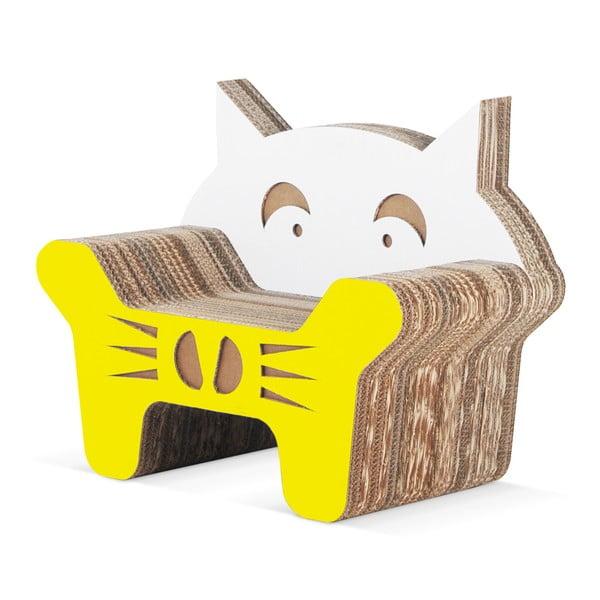 Dětské kartonové křesílko Gatto Yellow