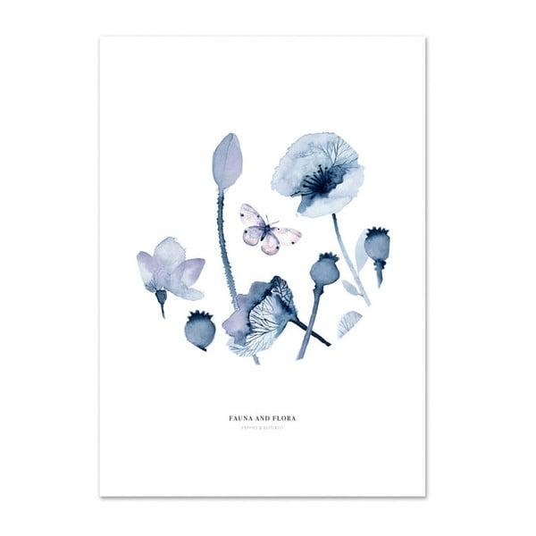 Plakát Leo La Douce Poppies & Butterflies II, 21x29,7cm
