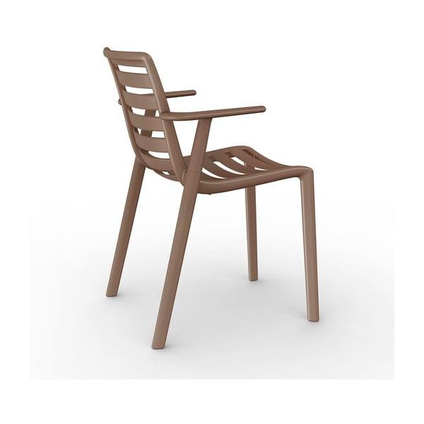 Sada 2 hnědých zahradních židlí s područkami Resol Slatkat