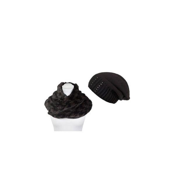 Čepice se šálou Black Fur