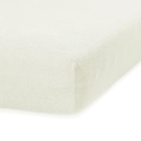 Kremowe prześcieradło elastyczne z dużym dodatkiem bawełny AmeliaHome Ruby, 200x160-180 cm