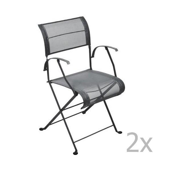 Sada 2 antracitových skládacích židlí s područkami Fermob Dune