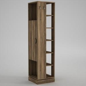 Vysoká skříňka spolicemi avěšákem Roll Walnut, výška180cm