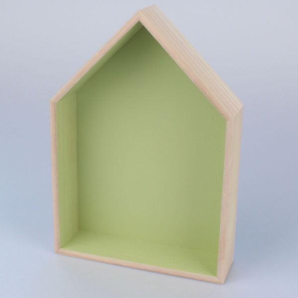 Závěsná polička Domeček 21x30 cm, zelená