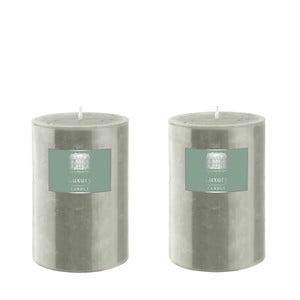 Set dvou svíček 10 cm, šedozelené, 48 hodin hoření