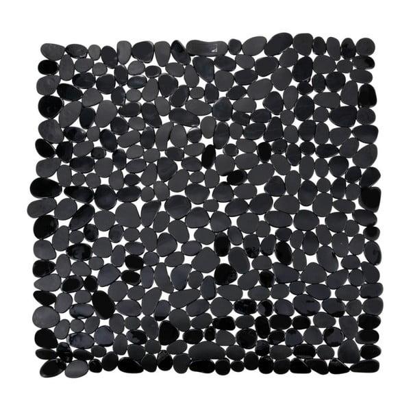 Černá protiskluzová koupelnová podložka Wenko Drop, 54x54cm