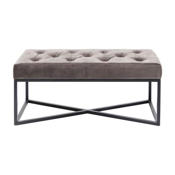 Sivá zamatová lavica Kare Design Crossover, 90 cm