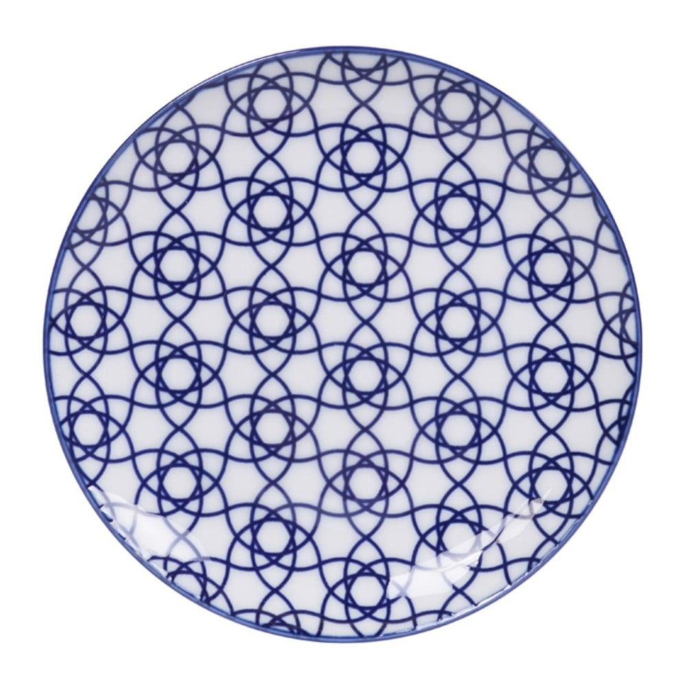 Modrý porcelánový talíř Tokyo Design Studio Stripe, ø 16 cm Tokyo Design Studio