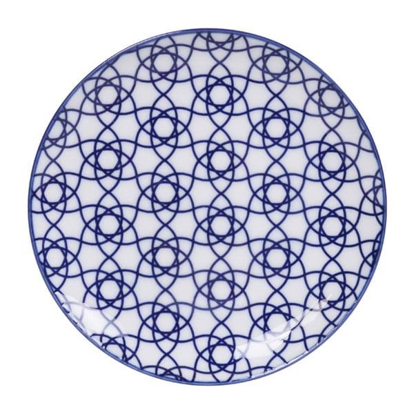 Niebieski talerz porcelanowy Tokyo Design Studio Stripe, ø 16 cm