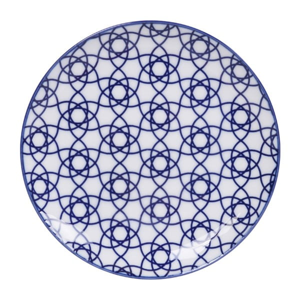 Modrý porcelánový talíř Tokyo Design Studio Stripe, ø 16 cm